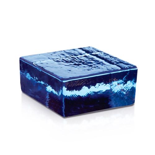 Cegła szklana połówka Blue Vetropieno Quadrato niebieska