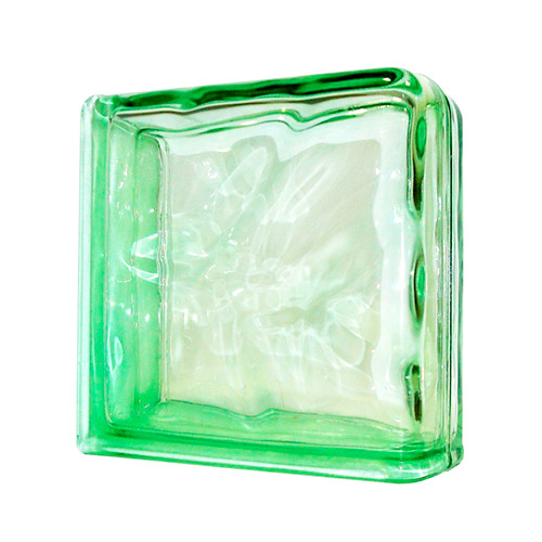 Pustak szklany narożny Wave Green Double End 1919/8 Luksfer zielony fala/chmurka